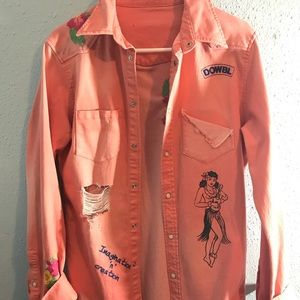 Pink Denim Jacket embroidered Flowers